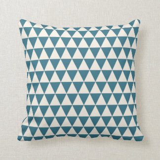 Triangle Geometric Pattern Teal Blue Cushion