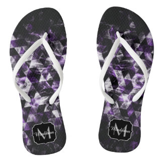 Triangle Geometric Purple Smoky Galaxy Monogram Flip Flops