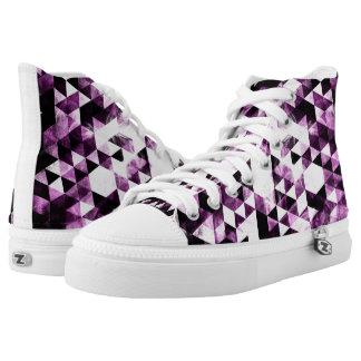 Triangle Geometric Vibrant Pink Smoky Galaxy Printed Shoes