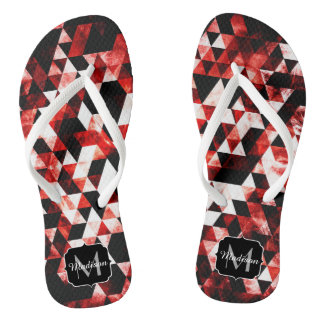 Triangle Geometric Vibrant Red Galaxy Monogram Flip Flops