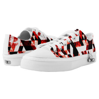 Triangle Geometric Vibrant Red Smoky Galaxy Low Tops