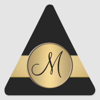 Triangle gold metallic monogram sticker