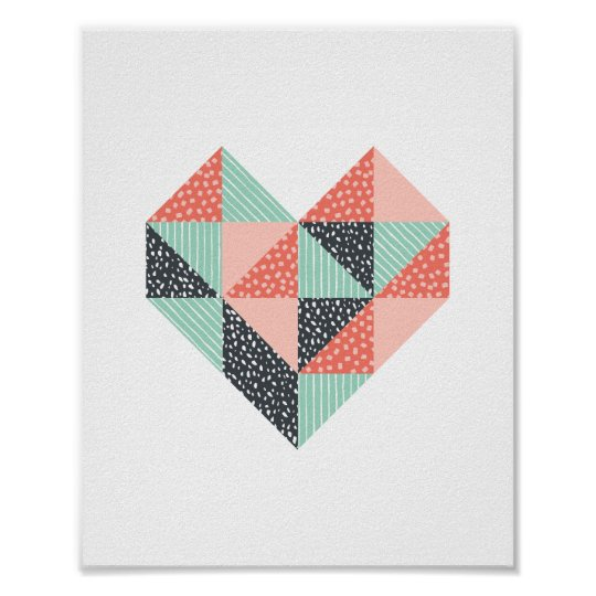 Triangle Heart Mint and Coral Wall Art