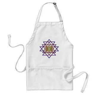 Triangle Mandala yellow purple Sri Yantra Aprons