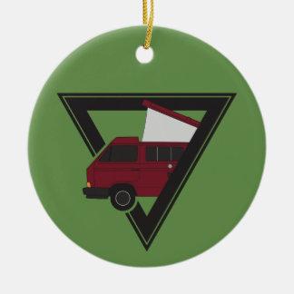 triangle maroon bus christmas ornament