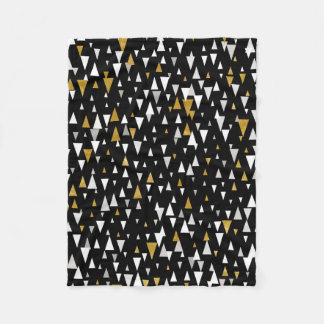 Triangle Modern Art - Black Gold Fleece Blanket