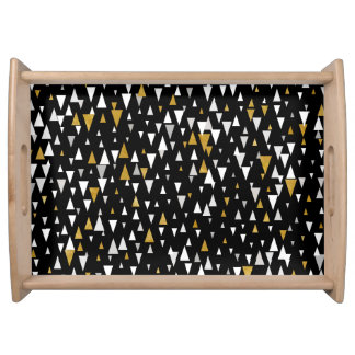 Triangle Modern Art - Black Gold Serving Tray