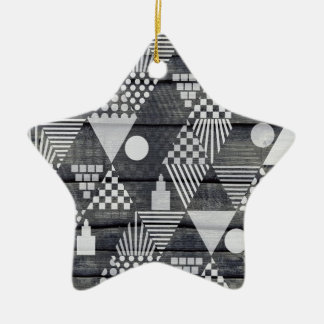 Triangle Pattern Grey White Black Ceramic Star Decoration