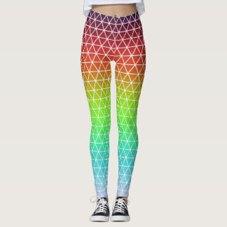 Triangle Rainbow Geometric Framework Tessellation Leggings