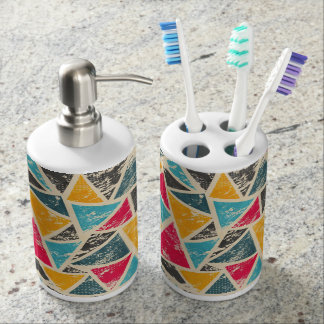 Triangle Toothbrush Holder and Soap Dispenser Set