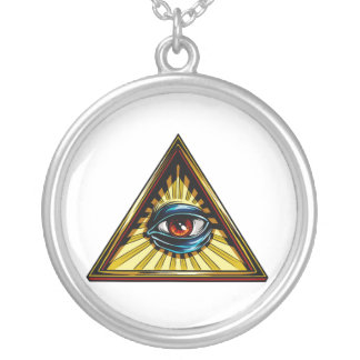 Triangle with eye Eye of Providence Silver Plated Necklace