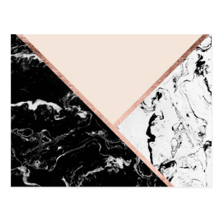Triangles black white marble rose gold color block postcard