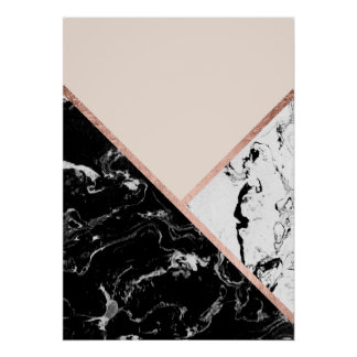 Triangles black white marble rose gold color block poster