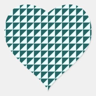 Triangles - Celeste and Deep Jungle Green Heart Sticker