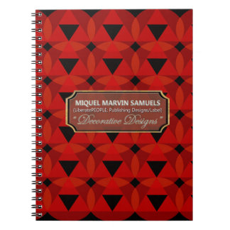 Triangles Circles Decorative Red Black Notebook