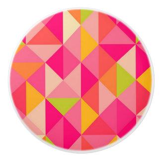 Triangles geometrical pattern ceramic knob