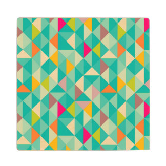 Triangles pattern wood coaster