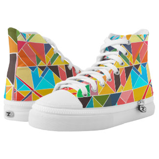 Triangular Geometric Abstract High Top Shoes Printed Shoes