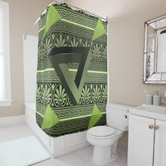 Triangular green black showercurtain shower curtain