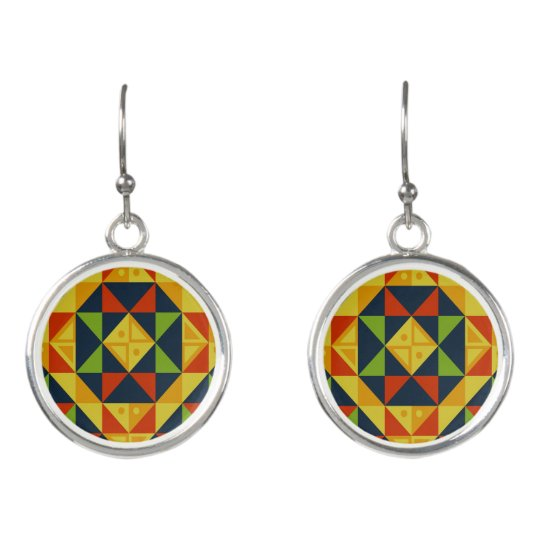Triangular Pattern Drop Earrings