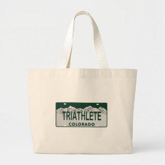 Triathlete license plate canvas bags