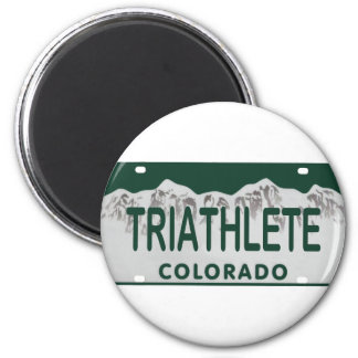 Triathlete license plate magnets