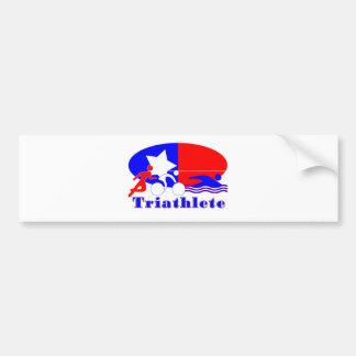 Triathlete RED /WHITE/ BLUE Bumper Sticker