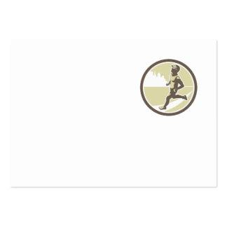 Triathlete Running Side Circle Retro Business Cards