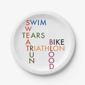 Triathlon Blood Sweat and Tears 7 Inch Paper Plate