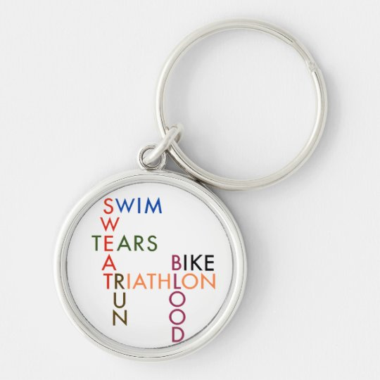 Triathlon blood sweat and tears key ring