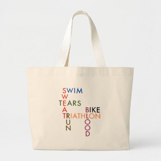Triathlon Blood Sweat and Tears Large Tote Bag