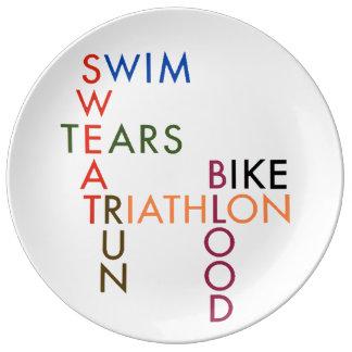 Triathlon Blood Sweat and Tears Porcelain Plates