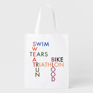 Triathlon Blood Sweat and Tears Reusable Grocery Bag