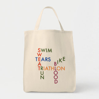 Triathlon blood sweat and tears tote bag