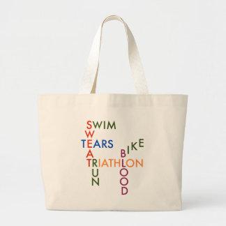 Triathlon blood sweat and tears jumbo tote bag