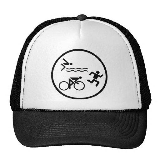 triathlon circle icon mesh hat