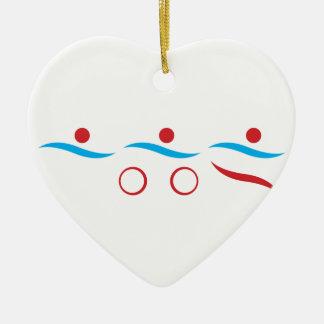 Triathlon cool logo illustration ceramic heart decoration