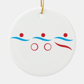 Triathlon cool logo illustration round ceramic decoration