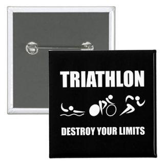 Triathlon Destroy 15 Cm Square Badge