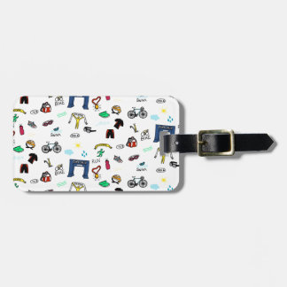 Triathlon Doodles Luggage Tag