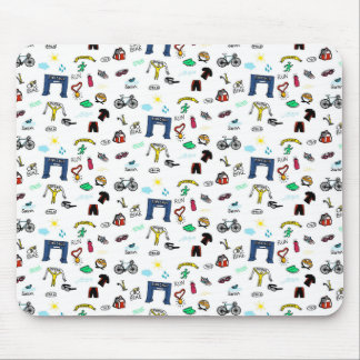 Triathlon Doodles Mouse Pad