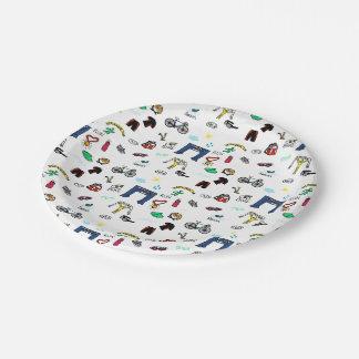 Triathlon Doodles Paper Plates 7 Inch Paper Plate