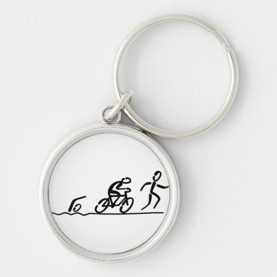 Triathlon key supporter Silver-Colored round key ring