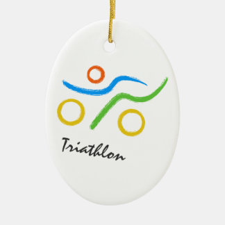 Triathlon logo ceramic oval decoration