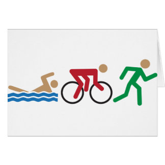 Triathlon logo icons in color card