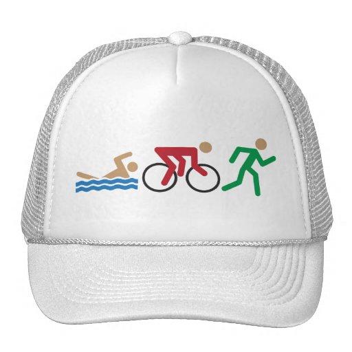 Triathlon logo icons in color mesh hats