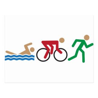 Triathlon logo icons in color postcard
