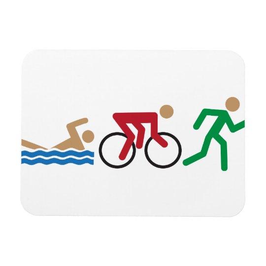 Triathlon logo icons in colour rectangular photo magnet