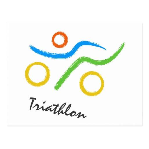 Triathlon logo post cards