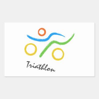Triathlon logo rectangular sticker
